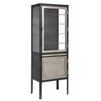 Glass cabinet w/2 doors, iron, grey
