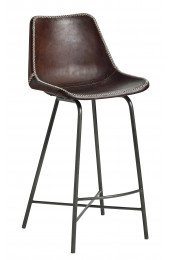 Bar chair, leather, w/iron legs, d.brown
