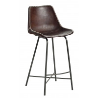 VEGA bar chair, leather, iron, d.brown