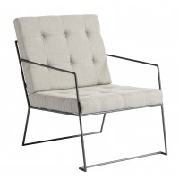 Arm chair, metal w/linen fabric, nature