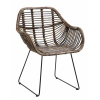 Dining chair, rattan, dark brown natural
