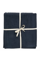YOGA cotton blanket, dark blue