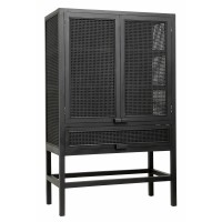 Cabinet, teak, black, open mesh weaving