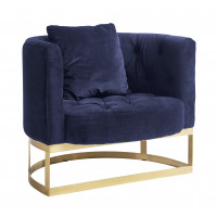 LOUNGE chair, dark blue/brass
