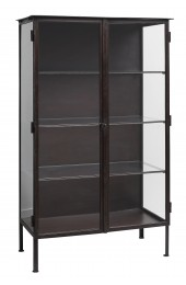 Cabinet iron and glass w/2 doors, brown