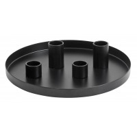 Black tray w/4 candle cups, small