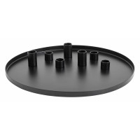 Black tray w/7 candle cups, large