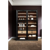 VIVA cabinet w/glass doors+drawers black