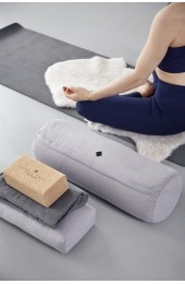 YOGA bolster, large, round, grey